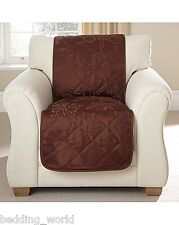 PRIMROSE CHOCOLATE 3 SEATER QUILTED SOFA THROW PROTECTOR FLORAL JACQUARD BROWN