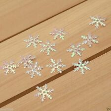 100 Pieces Pearly Iridescent Snowflake Embellishments Appliques 20mm Art Crafts