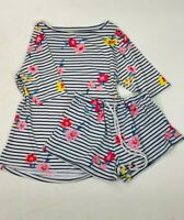 Womens Ladies White Navy Floral Stripe Print Short PJs Pyjamas Sleep Set
