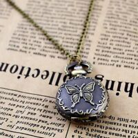 Retro Hollow Gifts Camellia Enamel Chain Steam Pocket Necklace Watch Quartz