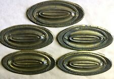 "19thc Set of 5 HEPPLEWHITE WIDE BEADED OVAL Brass Drawer Pull Backplates 5"" W"