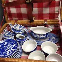 Vintage, Occupied Japan, Blue Willow, 19pc Child's Tea Set -Wicker Picnic Basket