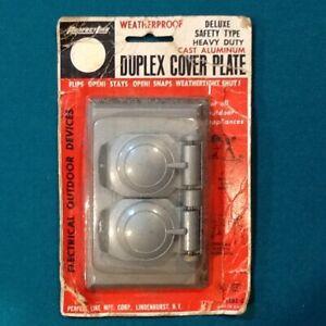 VINTAGE DUPLEX COVER PLATE WEATHERPROOF CAST ALUMINUM COVER