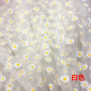 One Meter 150cm width soft sheer Daisy printed Mesh Ribbon for Dress decorated