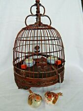 More details for vintage chinese carved wooden decorative bird cage with 2 porcelain pots