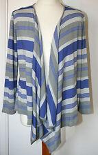 Per Una UK14 EU42 blue/grey striped non-fasten 3/4-sleeved waterfall cardigan