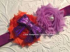 Halloween Orange Purple Shabby Flower Headband