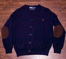 Polo Ralph Lauren Navy Blue Cardigan Sweater 100% Wool With Elbow Patches