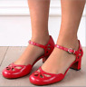 Retro Womens Ankle Strap Mid Cone Heels Round Toe Cutout Mary Janes Shoes Casual