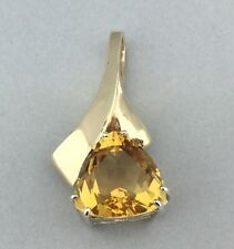 14K YELLOW GOLD CUSTOM-MADE PENDANT WITH CITRINE STONE APPROX. 5 CT