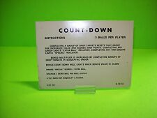 Gottlieb COUNT-DOWN Orig Pinball Machine Instructions Card 2-Sided 3/5 Balls #1