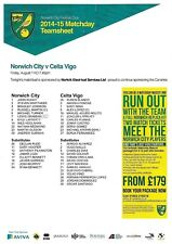 Teamsheet - Norwich City v Celta Vigo 2014/15