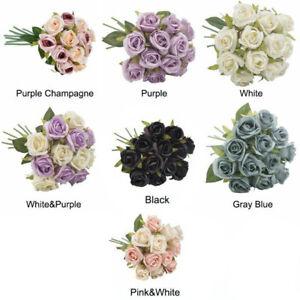 12 têtes de soie rose fleurs artificielles faux bouquet Buch décor de noce
