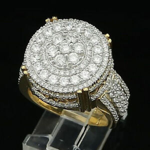 Real 4.00 Ct Moissanite 14K Yellow Gold Mens Wedding Band Pinky Engagement Ring