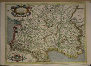 AQUITAINE FRANCE 1595 GERARD MERCATOR UNUSUAL ANTIQUE COPPER ENGRAVED MAP
