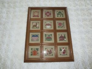"""ONE-OF-A-KIND Framed 12 MONTH Cross Stitch WALL HANGING - 15 3/4"""" x 20 1/2"""""""