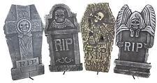 """Set of 4 Realistic 16"""" Asst. Halloween Foam Tombstones, Props, Graveyards, Haunt"""