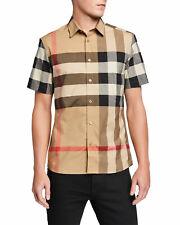 "NWT NM RECEIPT Burberry Men's Windsor Check Short-Sleeve Shirt sz L (22"" Bust)"