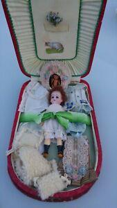 Beautiful Antique Miniature Mignonette Doll Wardrobe Boxed 4 1/2 ins / 11 cm