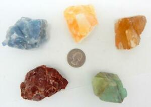5 Calcite Collection Blue Orange Green Red Citrine Natural Mineral Specimens