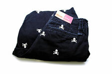 Mossimo Supply Mens Skull & Crossbones Embroidered Black Flat Front Shorts 28