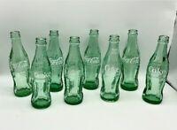 LOT OF 8 - Vintage Green Glass Coke Bottles Cocoa Cola