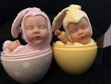 2007 2008 Anne Geddes Newborn Baby Yellow Pink Bunny Doll Egg Rare