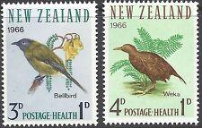 New Zealand 1966 HEALTH, BIRDS Set (2) Unhinged Mint SG 839-40