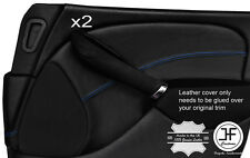 BLUE STITCH 2X FRONT DOOR CARD TRIM LEATHER COVERS FOR ROVER 75 & MG ZT 99-05
