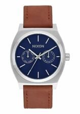 Nixon TIME TELLER DELUXE LEATHER , 39, NAVY SUNRAY / BROWN, Armbanduhr,A927-2307