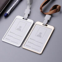 Aluminum Pocket Credit ID Card Badge Tag Holder Pass Case w/ Neck Strap Lanyard
