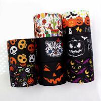 1Yard Halloween Pumpkin Skull Ribbons Thermal Transfer Polyester Grosgrain DIY