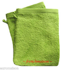 2 Garnier Thiebaut Gant Mitt Washcloth FRENCH TOWEL Antibacterial Soft New GREEN