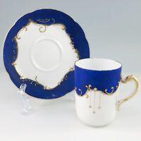 Haviland Co Limoges France Porcelain Demitasse Cup Saucer Satin Cobalt Blue Atq