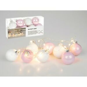 Pink and White Christmas Glass Bauble LED Battery String Party Tableware Lights