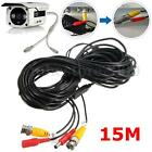50ft Security Camera Cable CCTV Video DC Power Wire BNC RCA Black Cord DVR TV