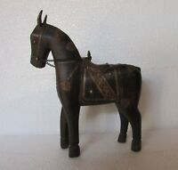 Vintage Old Collectible Wood Hand Carved Brass Fitted Horse Statue