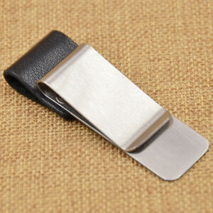 Synthetic Leather Stainless Steel Portable Pen Holder Clip for Notebook Notepad