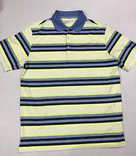 Mens NIKE Gold Dri-fit Polo SHirt- Multi-color Striped Shirt Size Large