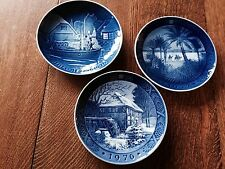 3 ROYAL COPENHAGEN Plates 1972 1976 Desert Christmas Mill Denmark Porcelain