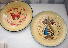 """2 Lovely Vintage Serving Trays, Butterfly & Pineapple, Red & Blue, 10.75"""""""
