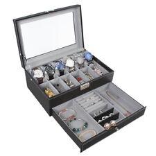 12 Slot Watch Box Display Organizer Glass Top Jewelry Storage Christmas Gift New