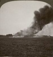 French Village Set on Fire Wantonly by the Retreating Germans - Stereoview #184