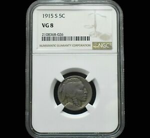 1915-S Buffalo Nickel~Very Good~VG8 by NGC~Great Luster~Only 79 this Grade~!