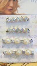 4 New Genuine Crystal Hair Barrette Pearl Hair Accessories Women Fashion Scunci