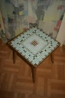 1950s 1960s Flower Stool Wood with Mosaikstein Table mid Century 50s 60s Vintage
