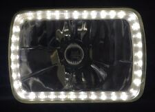 "White Halo H4 Headlight Angel Eye 6"" x 8"" Semi Sealed Beam Universal Crystal Len"