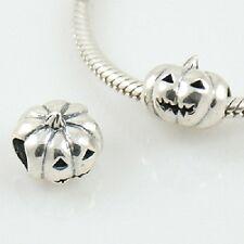HALLOWEEN PUMPKIN- Jack O'Lantern-European charm bead-Solid 925 sterling silver