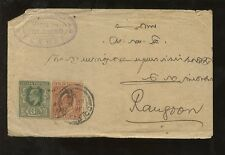 CEYLON 1904 KE7 3c + 2c COVER...SMRMSV...to BURMA