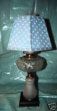 PEDESTAL OIL LAMP THUMBPRINT STAR SATIN GLASS EAPG P&A BANNER BURNER CA 1880's